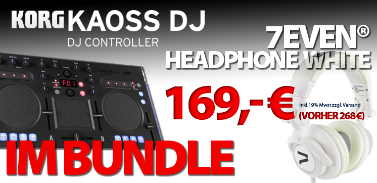 KORG KAOSS DJ im Bundle mit dem 7even HEADPHONE WHITE -SPECIAL DEAL