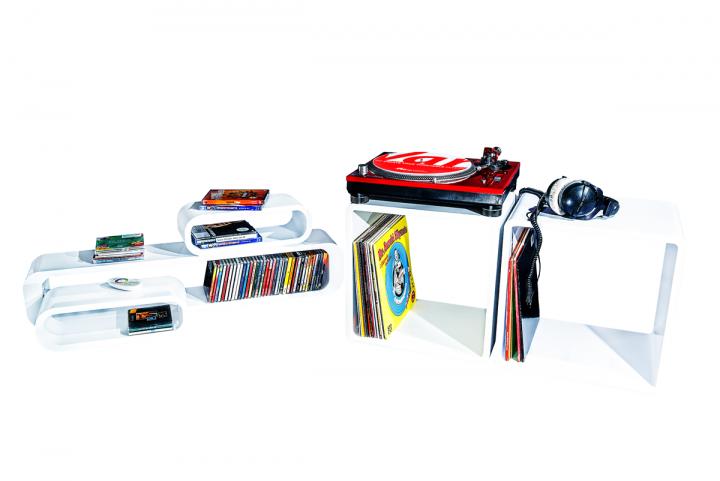 7even® Lounge Design Cube / Weiss 45cm / Regal, Tisch, Cube Würfel Regal  Retro Weiß Vinyl